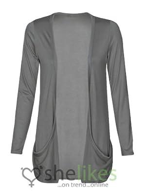 Women Ladies Cardigan Boyfriend Pocket Open Jumpers Top Long Sleeve UK all sizes