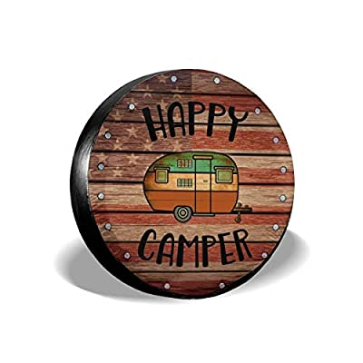 Deaowangluo Spare Wheel Tire Cover Jeep RV SUV Spare Tire Cover Camping Happy Camper Trailer Truck Travel Trailer Universal Fits 15 Inch: Automotive