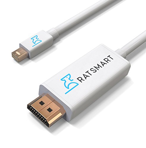Mini DisplayPort to HDMI Cable (6 FT), Mini DisplayPort Thunderbolt Compatible to HDTV Cable Adapter For Surface Pro by RatSmart