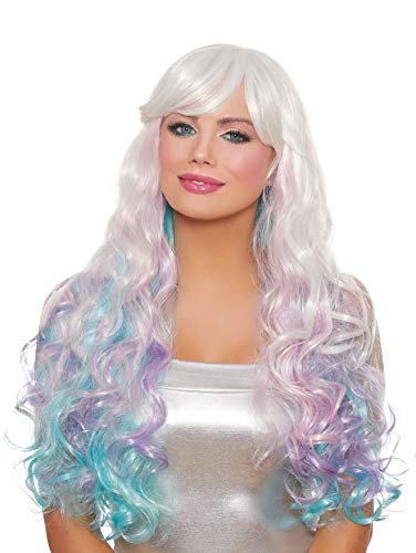 (Dreamgirl Women's Long Wavy Layered White/Pink/Lavender/Light Blue Wig, Multi, One Size)