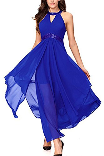 Yacun Mujeres Vestido Fiesta A Largo Vestido De Dama De Honor Coctel De Por La Noche Verano Blue