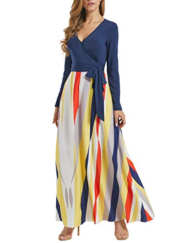 Acelitt Vertical Striped Dress for Women Casual Fall Winter Bohemian Hawi V Neck Long Sleeve Wrap Empire High Waist Party Maxi Long Dress Tie Knot Multicolored Medium