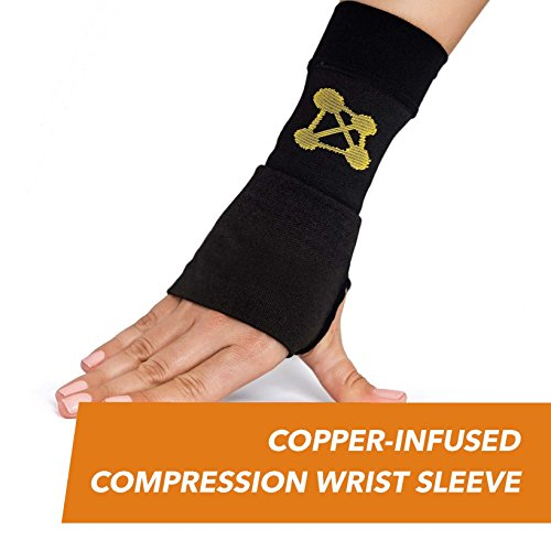 CopperJoint Copper-Infused Compression Wrist Sleeve, High-Performance Design Promotes Improved Circulation to Help Reduce Inflammation and Pain, Single Sleeve (Left, Medium)