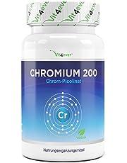 Vit4ever® Chromium Picolinate - 365 Tabletten - 200 mcg - Jahrespackung - Laborgeprüft - Hochdosiertes Chrom - Vegan - Hohe Bioverfügbarkeit - Chrompicolinat