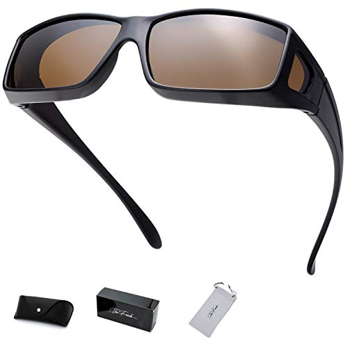 - The Fresh High Definition Polarized Wrap Around Shield Sunglasses for Prescription Glasses - Gift Box Package (704-Matte Black, Brown(Including side lens))
