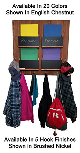 Sydney Family Command Center - 4 Mail Slots with Memo Chalkboards, 4 Single Hooks and 2 Double Hooks, 20 – Folder Holder – Homework Organizer - Available in 20 Colors ()