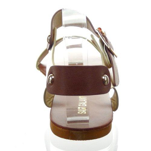 Kickly - Chaussure Mode Sandale Claquettes cheville femmes Clouté Talon bloc 1 CM - Intérieur synthétique - Or/Or