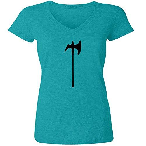 Stickerslug Axe V Neck T Shirt Womens tee Cotton (Teal, M) b21687