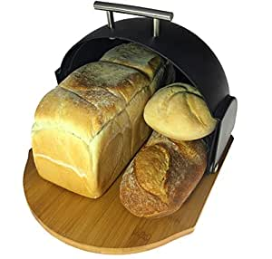 Bread Bin Modern | Compact Rolltop with Bamboo Cutting Base | 2-in-1 Bread Box with Cutting Board | Roll Top Bread Storage by Solander Skelf