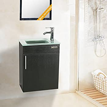 SMALL BATHROOM VANITY CABINET AND SINK WHITE - PE1612W NEW ...