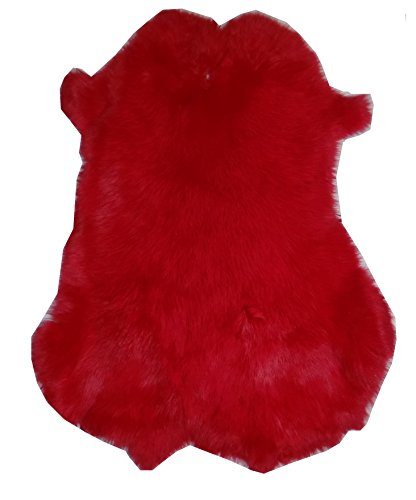 "Dyed Tanned Rabbit Fur Hide - 10"" by 12"" Rabbit Pelt With Sewing Quality Leather (Red)"