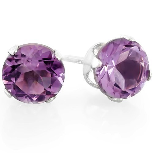 2.00 CT 6.1 MM Real Genuine Purple Round Amethyst Sterling Silver Stud Earrings
