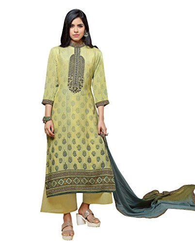 - Beautiful Lemon Yellow Colored Pure Silk Salwar Suit
