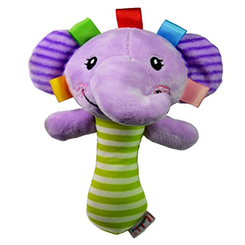 YeahiBaby Baby Kids Cute Cartoon Animal Soft Plush Rattles Hand Bells Educational Funny Toys Hand Rattle Toys Gift for Newborn(Elephant)