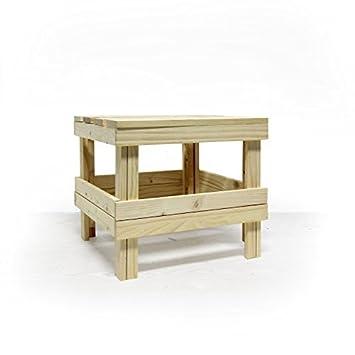 Rebecca Srl Mini Tisch Hocker Palette Holz Natur Niedrig Platzsparend Garten  Küche (Code RE4477