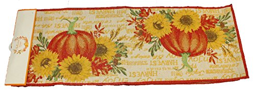 (Twisted Anchor Trading Co Fall Table Runner - Harvest Pumpkin Runner - Tapestry Style with Sparkle Thread - Casual Cotton Fall Table Runners 72 Inch x 13)