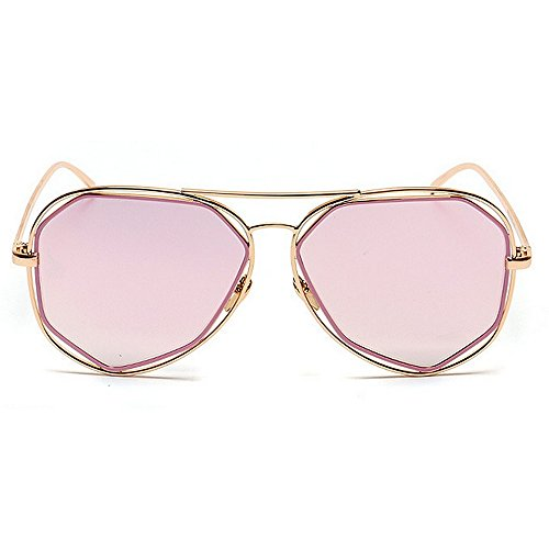 aire de UV al gafas lente polarizada las viajan marco mujeres sol de metal de Silver de Rosado libre gafas que protección Color sol Polígono irregular RnO4EqxF