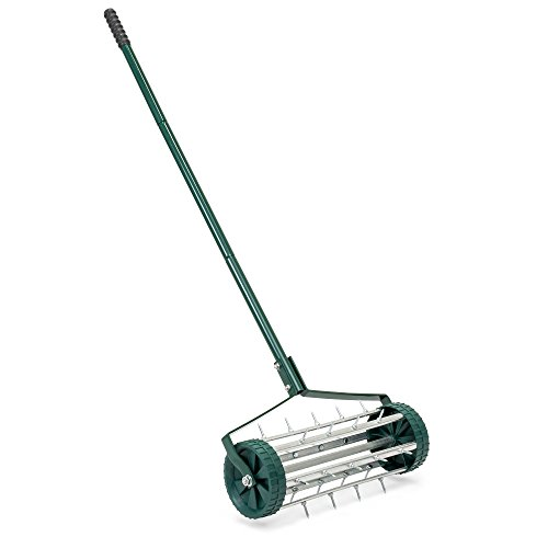 Lawn Spreader Drop (Best Choice Products 18in Rolling Lawn Aerator Gardening Tool for Grass, Soil w/Tine Spikes, 50in Handle - Dark Green)