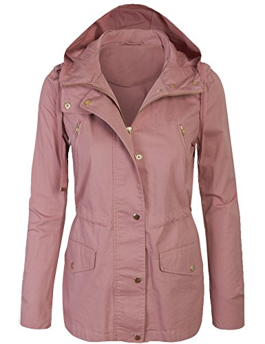 KOGMO Womens Zip up Military Anorak Safari Jacket with Hoodie-S-Mauve ()