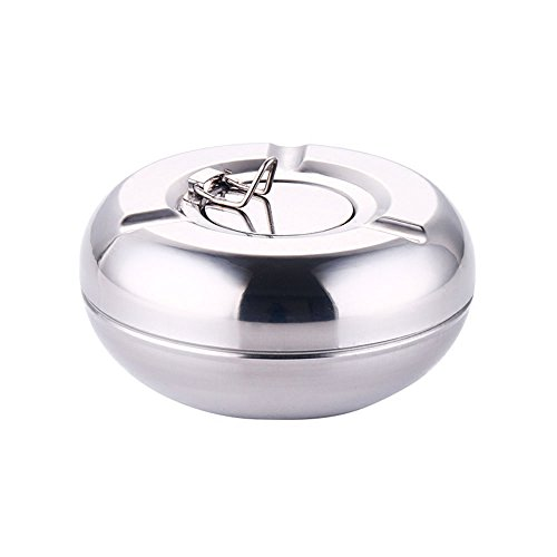 MyLifeUNIT Stainless Steel Cigarette Ashtray with Lid, Windless Ash Tray for Home Outside Bar