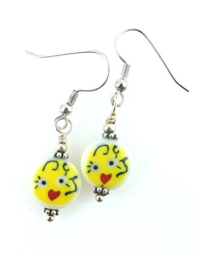 Character Creations Costumes (Girl Face Earrings Cute Yellow with Heart Lips)