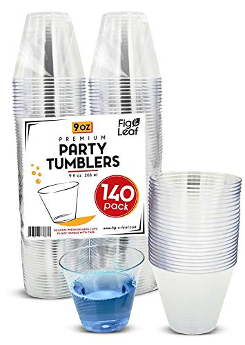 - (140 Pack) Premium Hard Plastic 9 OZ Party Cups l Old Fashioned Tumblers 9-Ounce l Crystal Clear Sturdy Disposable Tumbler Glasses Reusable Durable Cup l Top Choice for Catering Wedding Birthday Event