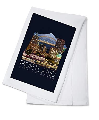 (Portland, Oregon - Skyline at Night - Contour 97876 (100% Cotton Kitchen Towel))