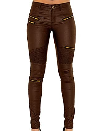 lexiart Faux Leather Pants for Women Sexy Stretchy Pu Leather Pleather Pants Leggings with Golden Zipper Brown Coffee US 10
