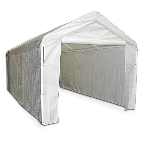 Selva 10'x20' Carport Canopy Side Wall Kit | Ideal for Outing Camping Friendly Tent Party Garage Enclosure Shelter | 100% Polyethylene Fabric Made | Heavy Duty Fire Water Retardant Solid (White Canopy Enclosure Kit)