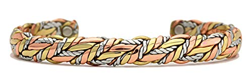 BillyTheTree Jewelry American Quilt - Sergio Lub Copper Magnetic Therapy Bracelet - Made in USA!  Size/Style  Polished - Large - 7 to 8 - Cuff Lub Sergio