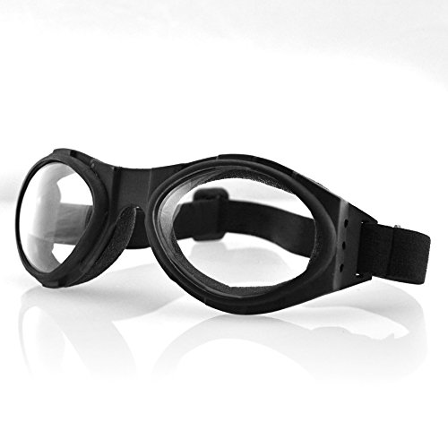 Snowmobile Eyewear Accessories - Bobster Eyewear BA001C, Bugeye Goggles, Black Frame, Clear Lens