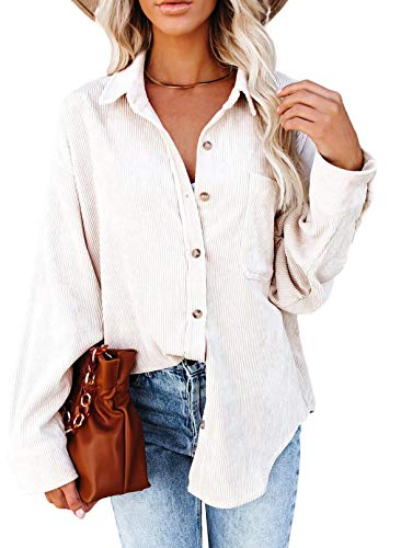 Astylish Womens Corduroy Shirts Casual Long Sleeve Button Down Blouses Tops