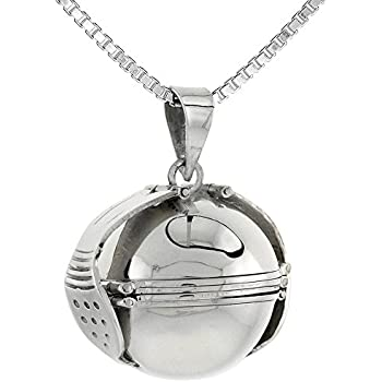 Amazon Com Sterling Silver Photo Ball Locket Necklace For