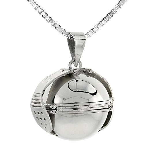 (Sterling Silver Photo Ball Locket Necklace For Six Pictures 7/8 inch, 18 inch BX_24)