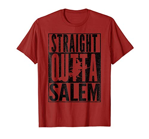 STRAIGHT OUTTA SALEM Halloween Witch Broom Party Tee Shirt -