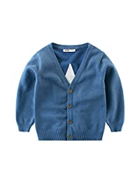 Bmeigo Unisex Kid Cardigan Sweater Jumper Long Sleeve V Collar 1-7 Years