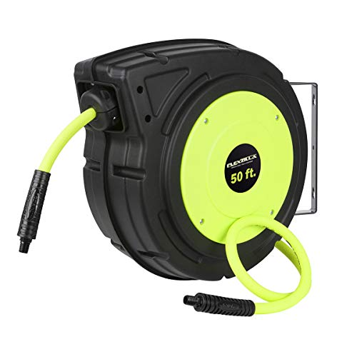 Flexzilla Retractable Enclosed Plastic Air Hose Reel, 3/8 in. x 50 ft, Heavy Duty, Lightweight, Hybrid, ZillaGreen - L8250FZ ()