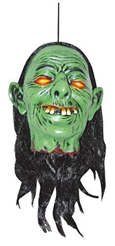Sunstar Industries Hanging Latex Voodoo Shrunken Light Up Head Prop Witch Zombie Halloween Prop ()