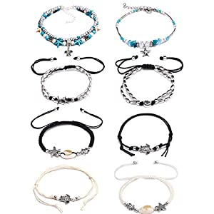 BOMAIL 8PCS Anklets for Women Girls Blue Starfish Turtle Elephant Charm Ankle Bracelets Multilayer Gold Silver Plated Foot Jewelry Handmade