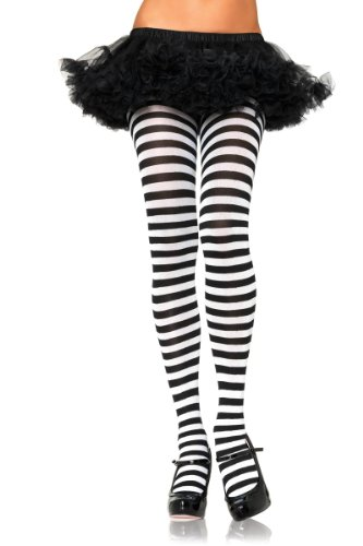 Leg Avenue Women's Plus-Size Nylon Striped Tights, Black/White, (Black And White Halloween Costumes For Women)