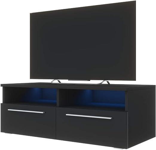 Siena - Mueble TV / Mesa para TV (100 cm, Negro Mate / Frentes ...