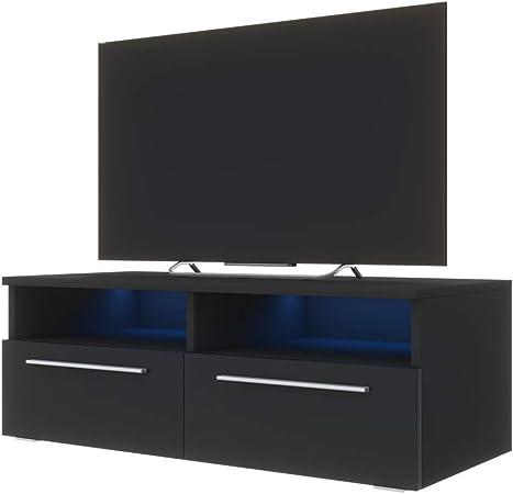 Siena Meuble Tv 100 Cm Noir Mat Fronts Noir Brillant Avec Led Bleue Amazon Fr Cuisine Maison