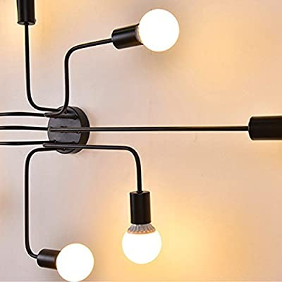 Andersonlight Industrial DIY Creative Ceiling Lamp Metal Black Painted Finish Flush Mount Chandelier with 8 Lights Use E26 Bulb Sockets Retro Style Lighting Fixture for Cafe Bar/Restaurant/Living Room