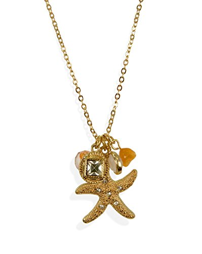 Gold Tone Nautical Starfish Charm Beach Inspired Necklace with Crystal Glass Stones for Women - Inspired Crystal Necklace
