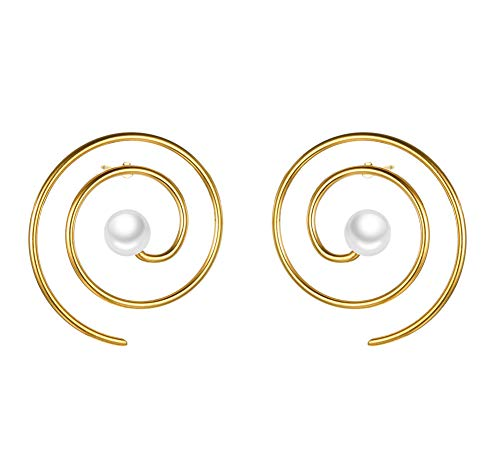 - BEAUTY CHARM Paper Clip Earrings Gold Minimalist Geometric Line Round Swirl Wire Spiral Stud Earrings Stainless Steel Pearl Statement Earrings Studs for Women
