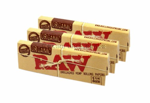 Raw-Unrefined-Organic-125-1-14-Size-Cigarette-Rolling-Papers-3-Packs