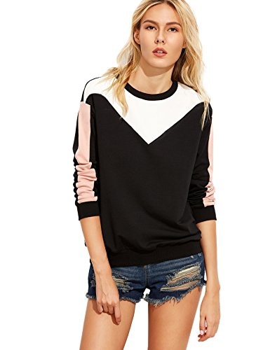 Romwe Women's Casual Color Block Drop Shoulder Pullovers Sweatshirt multicolored (Multi Color Pullover)