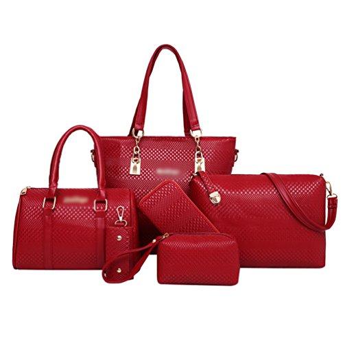 Elegante Shopping Borse a Borsa Anguang Pochette Portafoglio Partito Donna Rosso Tracolla 5 Mano Pezzi a dWynHfW