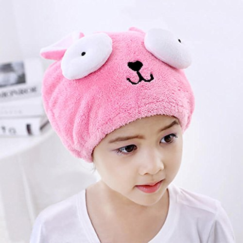 G2PLUS Hair Drying Towel for Kids, Microfiber Absorbent Cartoon Hair Towel Wrap for Children Shower Bath (Pink) from G2PLUS