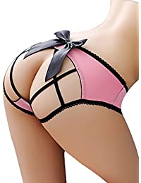 Sexy Crotchless Cage Open Back Panty With Big Satin Bow